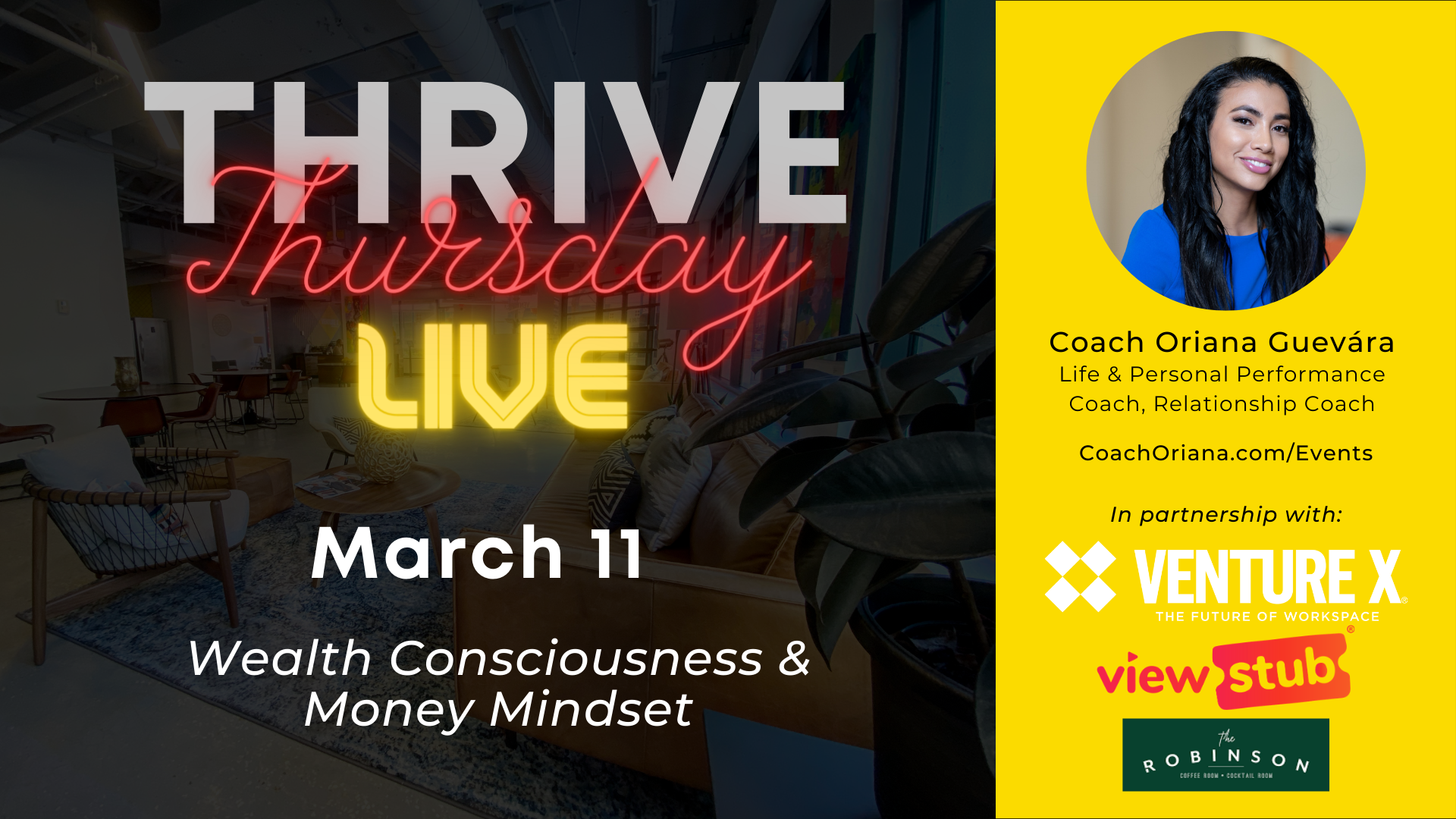 Photo for Thrive Thursday LIVE March @ Venture X Downtown Orlando on ViewStub