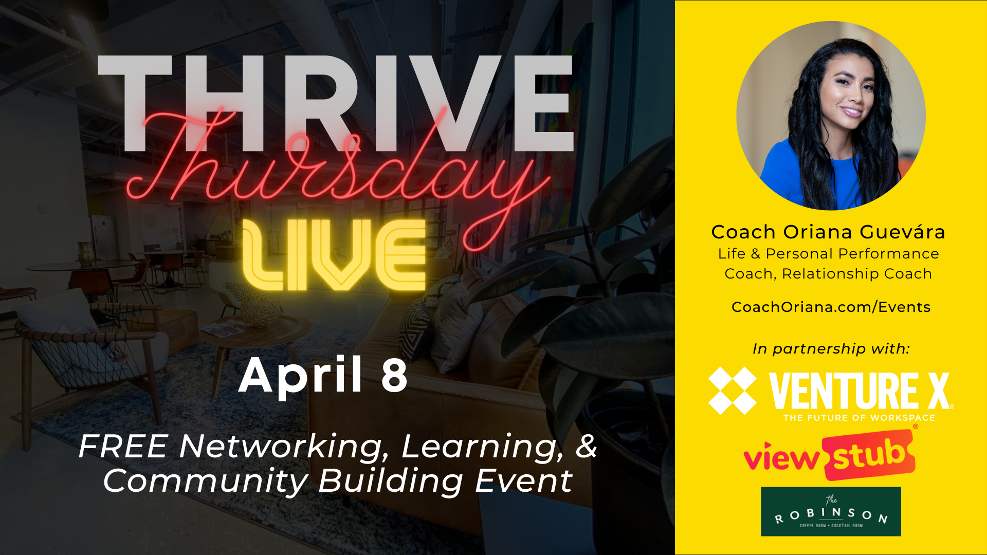 Photo for Thrive Thursday LIVE April @ Venture X Downtown Orlando on ViewStub