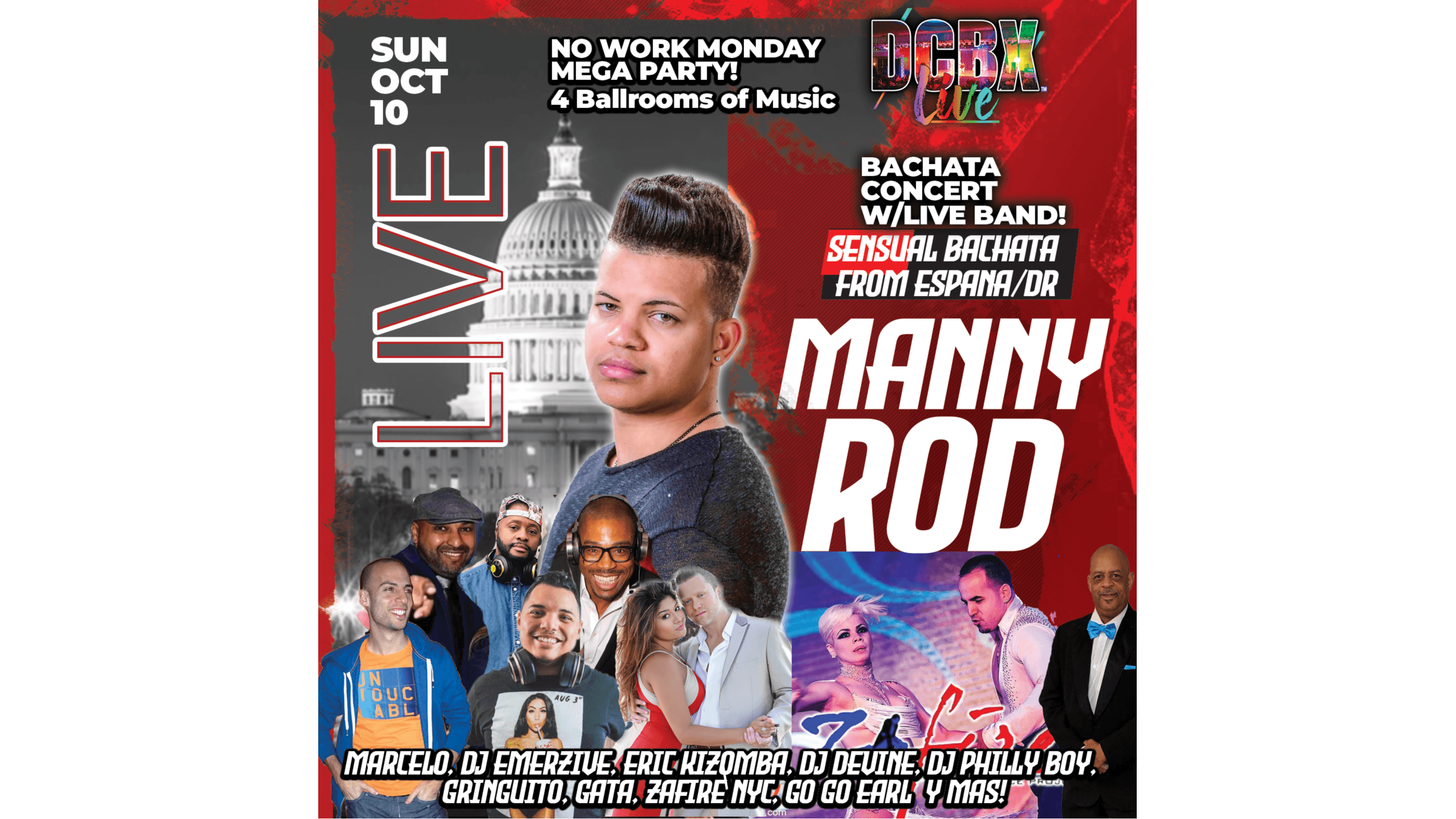 Photo for No Work Monday Holiday Bash - Manny Rod with Live Bachata Concert and Band - 4 Ballrooms and more! on ViewStub